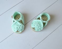 Crochet Heart Baby Sandals Blue Shoes FIts 0-3 by ChucksForChancho