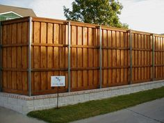 privacy fence on retaining wall, sod to sidewalk Fence Landscaping, Backyard Fences, Backyard Projects, Home Projects, Retaining Wall Fence, Outside World, Water Features, Outdoor Gardens, Garden Design