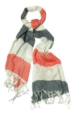Nautical Style Peach Gray and White Striped Scarf Peach Couture. $9.95