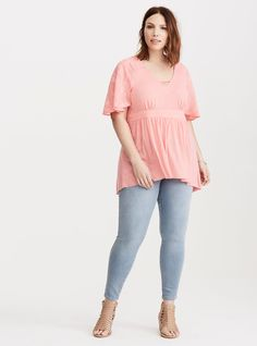 Plus Size Embroidered Babydoll Top,