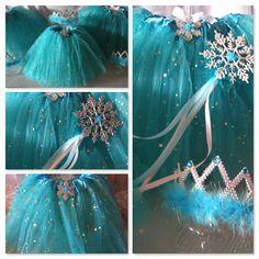 Princess Party Ideas.  Beautiful FROZEN inspired favors- tutus, tiaras, wands in Sparkling Winter Green.  Shop www.myprincesspartytogo.com #princesspartyideas #frozen #frozenfavors