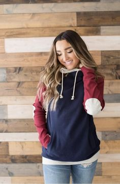 e3abc6f24ed0 DoubleHood Sweatshirt - Cozy Colors with Elbow Patch - by Ampersand Avenue