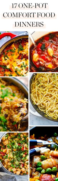 Here are 17 warm, comforting classics that will fill you up, then get you back under a blanket and in front of the TV in no time. #comfortfood #onepotrecipes #onepotdinners #comfortfooddinners #onepot