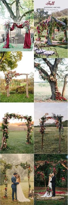 Fall wedding arches & Autumn alter wedding ideas / http://www.deerpearlflowers.com/wedding-ceremony-arches-and-altars/5/ #WeddingIdeasBoda #weddingdecoration