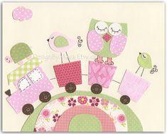 Nursery wall art print Baby girl room decor owl by DesignByMaya, $17.00