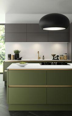 Green Kitchen Cabinets, Kitchen Cabinet Colors, Painting Kitchen Cabinets, Kitchen Colors, Home Decor Kitchen, Kitchen Furniture, New Kitchen, Kitchen Grey, Modern Kitchen Design