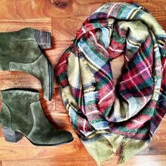 Tartan plaid scarf red green tan grid oversized Brand new oversized plaid tartan blanket scarf in red green and tan tone. 100% acrylic fiber. Super soft! Must have this season! Approximately 55x55 inches Accessories Scarves & Wraps