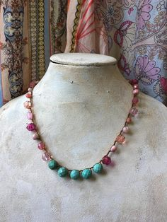 Ship with other necklace Mala Necklace Diy, Green Necklace, Leather Necklace, Flower Necklace, Necklace Set, Stone Beads, Silver Charms, Beautiful Necklaces, Pink And Green