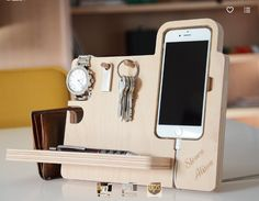 Iphone stand for desk the handmade desk organizer boasts integrated watch stand dock key holder and . iphone stand for desk Christmas Gifts For Men, Best Gifts For Men, Gifts For Husband, Cool Gifts, Gifts For Him, Unique Gifts, Handmade Desks, Handmade Wooden, Iphone Stand