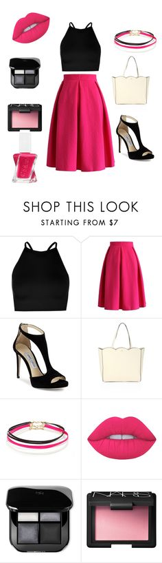 """Black,White,and A Pop Of Pink!"" by jules16280 ❤ liked on Polyvore featuring Boohoo, Chicwish, Jimmy Choo, Kate Spade, Forever 21, Lime Crime, NARS Cosmetics and Essie"