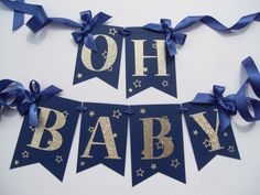 Navy and Gold Baby Shower Banner Decorate your Baby Shower in this Navy and…