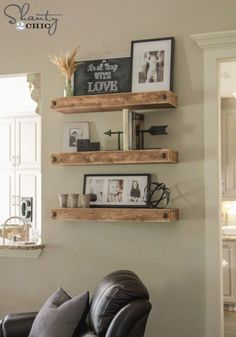 Build simple and inexpensive DIY Floating Shelves by following this tutorial and FREE woodworking plans!