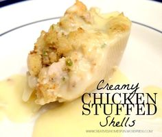 Creamy Chicken Stuffed Shells Recipe on Yummly. Stuffed Shells Recipe, Stuffed Pasta Shells, Cream Of Chicken Soup, Creamy Chicken, Goulash, Rigatoni, Chicken Recipes, Chicken Soups, Meat Recipes