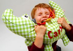 Krokodil Kopfkissen und Kuscheltier // Crocodile pillow case and cuddly toy by josefines-kinder via DaWanda.com