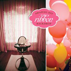 Easy DIY ribbon backdrop for cake small pictures. Monkey First Birthday, Monkey Birthday Parties, Birthday Party Themes, Bday Girl, Girl Birthday, Birthday Cake, Diy Ribbon, Grosgrain Ribbon, Dyi