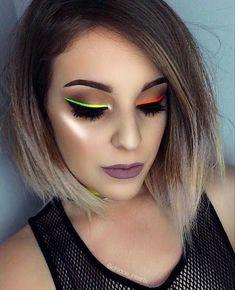 Yellow Makeup, Colorful Eye Makeup, Makeup For Green Eyes, Pink Makeup, Simple Makeup, Neon Lipstick, Neon Eyeshadow, Makeup Trends, Makeup Inspo
