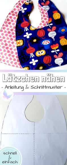 Sew bibs yourself (including sewing pattern) Lätzchen selber nähen (inklusive Schnittmuster) Instructions and patterns for a bib for your baby. Quick and easy, great for beginners too Knitting For Beginners, Sewing Projects For Beginners, Easy Knitting, Knitting Projects, Knitting Patterns, Sewing Patterns, Knitting Ideas, Diy Bebe, Knitted Baby Blankets