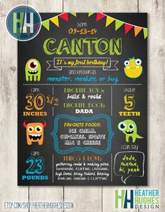 Hey, I found this really awesome Etsy listing at https://www.etsy.com/listing/246319817/first-birthday-chalkboard-poster-monster