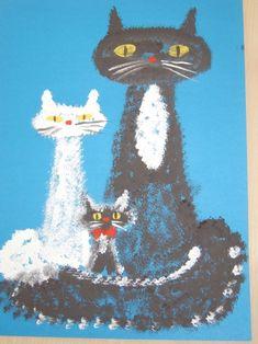 Мастер-класс «Семья кошек». Нетрадиционные техники рисования Фото