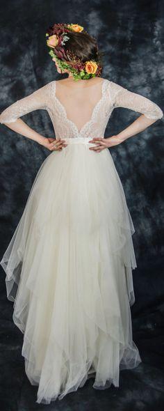 Ivory lace bohemian wedding dress, boho wedding dress, long sleeve wedding dress, destination wedding dress, beach wedding dress in tulle