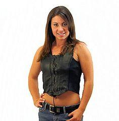 Womens Black Leather Halter Top