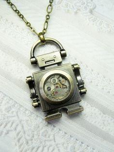 Robot Necklace - ORIGINAL Steampunk Robot - Jewelry by BirdzNbeez. $26.00, via Etsy.