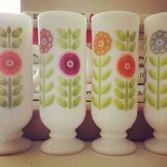 Vintage Milk Glass Espresso Cups Set of 4 by PickledFurniture