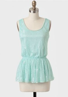 Corsica Lace Peplum Top In Mint   Modern Vintage Tops   Modern Vintage Clothing