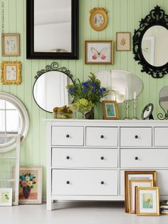Mix mirrors into a wall collage for added dimension and bring boring bedroom walls to life.