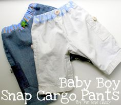 Tutorial for Cargo pants with snap legs size 3-6 mo and 6-12 mo patterns