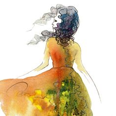 "Ola Designs watercolor series ""don't look back."""