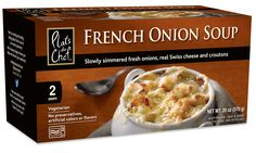 Frozen snacks and meals for every day and any occasion! Www.cuisineadventures foods.com Plats du Chef frozen French a Onion Soup