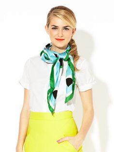 hair, scarf: kate spade new york Solar Silk Scarf