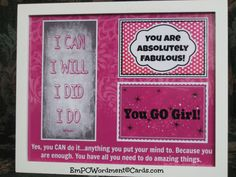 FRAMED PRINT You Are Absolutely Fabulous~You GO Girl~I Can I Will I Did I Do~ Pink Framed Print, direct sellers team, Graduation, encourage