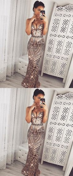 Mermaid Sweetheart Floor-Length Rose Gold Sequin Prom Dress, unique rose golde sweetheart long prom dresses, modest mermaid evening dresses #gown #partydress