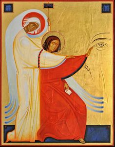 (An angel guiding the hand of an icon writer)