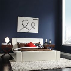 Anabella White Bonded Leather 'S' Shape Upholstered Modern Bed
