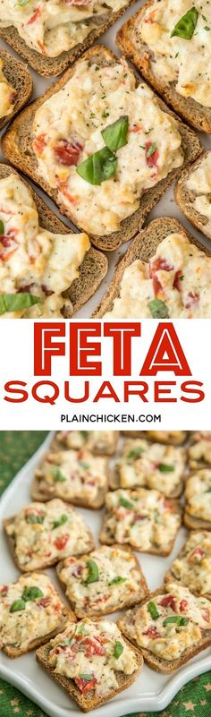 Feta Squares - perfect party food!!! Feta, cream cheese, greek seasoning, tomatoes and basil baked on top of party rye bread. This is one of my most requested party foods!! SO easy and they taste great hot out of the oven or warmed to room temperature. Great for parties and tailgating!! #feta #partyfood #appetizers