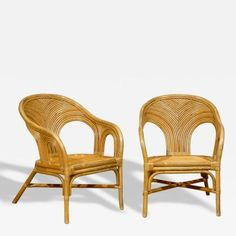 Sculptural Set of 6 Vintage Bamboo Arm Chairs