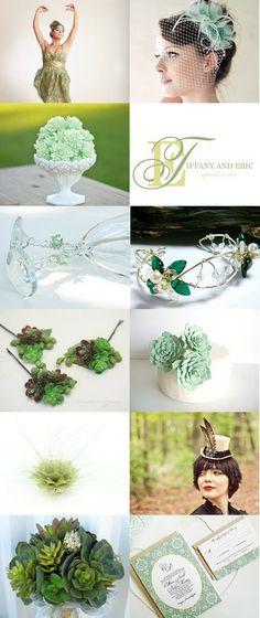 Wedding ideas and inspiration in tones of green by Beadz 2 Pleaz on Etsy.  #handmade #wedding #green #etsyweddingteam #flowers #mint #sage #emerald #EWT