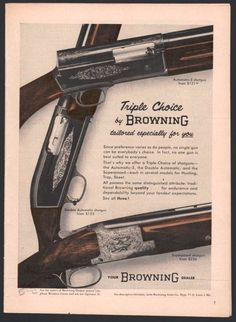 1956 BROWNING Automatic-5 Double & Superposed Shotgun AD w/ prices ADVERTISING
