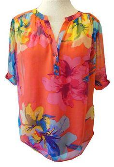 Ella Moss : Coral/Multicolor Floral Print Silk Chiffon Top With Cami