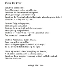 (Click for larger view) I Am Poem Template, Where Im From Poem,