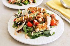 Crispy Avocado Bacon and Tomato Salad.