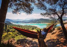 Buy Wanderlust man and dog relaxing at hammock in mountains by on PhotoDune. Wanderlust man and dog relaxing at hammock in mountains. Man And Dog, Life Is An Adventure, Eurotrip, Andalucia, Outdoor Furniture, Outdoor Decor, Hammock, Travel Photography, Spain