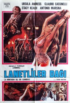 """Slave of the Cannibal God. 1979 Original 26.75""""x39.75""""Turkish Movie Poster.Fantastic Art of Stacey Keach,Ursula Andress,Claudio Cassinelli by ArtisticSoulStudio on Etsy"""