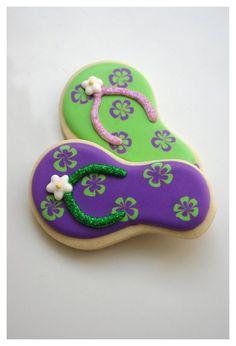 Luau Cookies, Iced Sugar Cookies, Summer Cookies, Fancy Cookies, Flower Cookies, Birthday Cookies, Cupcake Cookies, Flip Flop Cakes, Flip Flop Cookie