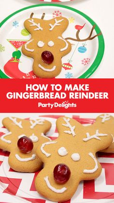 Find out how to make gingerbread reindeer with upside down gingerbread men. An easy Christmas party food idea that kids will love! Gingerbread Reindeer, How To Make Gingerbread, Reindeer Craft, Gingerbread Cookies, Christmas Party Food, Xmas Food, Christmas Time, Advent Candles, Merry Christmas Ya Filthy Animal