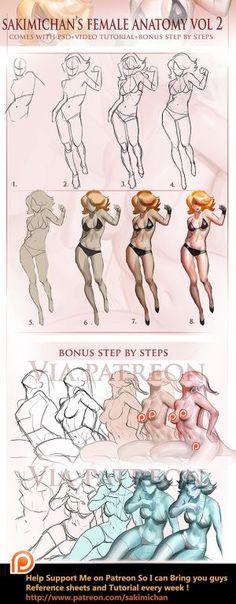Female Fullbody step by step Vol 2 tutorial - human anatomy - drawing reference Female Drawing, Body Drawing, Figure Drawing, Drawing Reference, Anatomy Drawing, Human Anatomy, Digital Painting Tutorials, Digital Art Tutorial, Art Tutorials