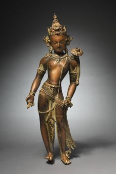 Avalokitesvara Padmapani: Bodhisattva of Mercy Bearing a Lotus, c. 1000s  Nepal, 11th century  bronze with gilding, pigment, and semiprecious stones